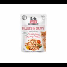 Brit Care Fillets in Gravy Turkey & Salmon konservai katėms